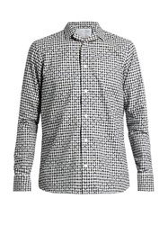 Kolor Checked And Flock Cotton Shirt White Multi