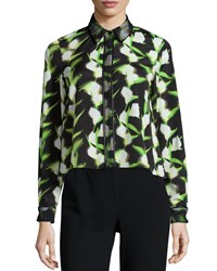 Zac Posen Fabia Long Sleeve Floral Print Blouse Black White Tennis