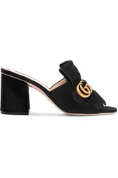 Gucci Marmont Fringed Suede Mules Black