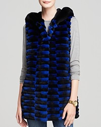 Maximilian Hooded Rex Rabbit Fur Vest Blue Black