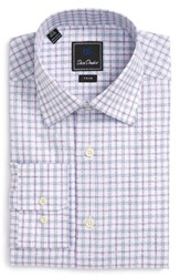 David Donahue Men's Big And Tall Trim Fit Check Dress Shirt White Lilac