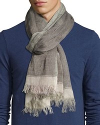 Brunello Cucinelli Linen Border Scarf With Fringed Ends Green