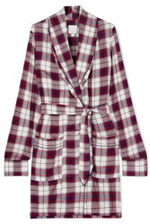 Three J Nyc Checked Flannel Robe Red