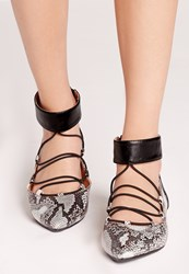 Missguided Ankle Cuff Lace Up Flat Shoes Snakeskin Grey
