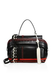 Tod's Wave Small Multicolor Whipstitched Leather Satchel Black Multi