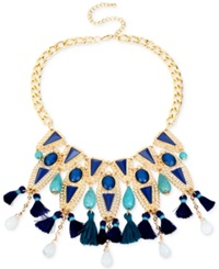Macy's M. Haskell Gold Tone Blue Bead And Tassel Statement Necklace