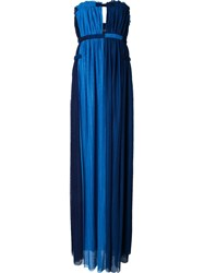 Jay Ahr Strapless Central Slit Dress Blue