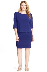 Adrianna Papell Plus Size Women's Shutter Pleat Popover Sheath Dress Sapphire