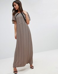 Liquorish Herringbone Print Maxi Dress Lace Details Front And Back Nude And Black Multi