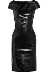 Gareth Pugh Glossed Leather And Jersey Dress Black