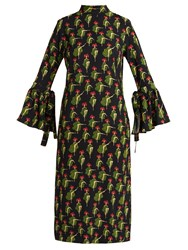 La Doublej Editions Can Can Happy Wrist Print Dress Black Multi