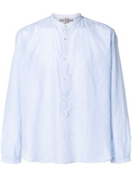 Dnl Mandarin Collar Striped Shirt Blue