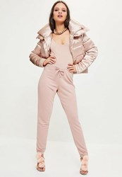 Missguided Pink Loopback Tie Waist Joggers