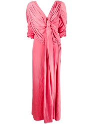 Lanvin Pleated Floor Length Gown Pink