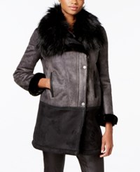 T Tahari Faux Fur Trim Colorblocked Faux Shearling Coat Black