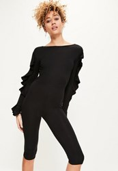 Missguided Black Frill Sleeve Low Back 3 4 Jumpsuit