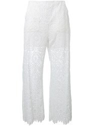Msgm Lace Panel Trousers White