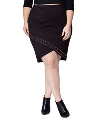 Mblm By Tess Holliday Embellished Tulip Hem Pencil Skirt Black