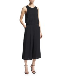 Milly Sleeveless Wide Leg Cropped Jumpsuit Black