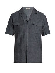 Bottega Veneta Cuban Collar Chambray Shirt Navy