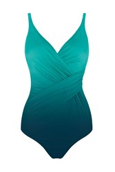 Seaspray Ombre Draped Front Strap Swimsuit Lagoon Blue