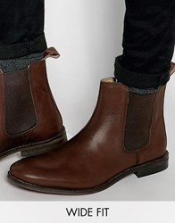 Asos Wide Fit Chelsea Boots In Brown Leather Brown