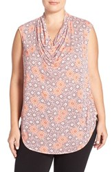 Plus Size Women's Halogen Drape Neck Sleeveless Top Pink Red Mum Print