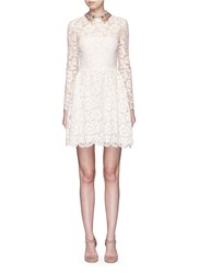 Valentino Detachable Embellished Collar Floral Lace Dress White
