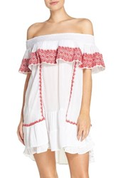 Muche Et Muchette Women's Gavin Ruffle Cover Up Dress White Red