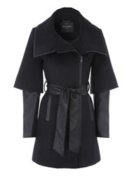 Jane Norman Black Pu Zip Detail Coat Black
