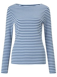 John Lewis Boat Neck Long Sleeve Stripe T Shirt Cashmere Blue Denim Blue