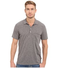 7 For All Mankind Short Sleeve Raw Placket Polo Heather Grey Men's Short Sleeve Pullover Gray