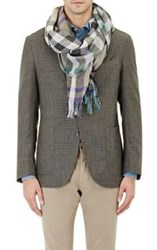 Colombo Men's Plaid Gauze Scarf Grey