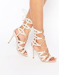 Lipsy Bevan Tan Ghillie Lace Up Calf Heeled Sandals Tan