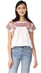 Madewell Fleur Embroidered Top Eyelet White