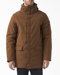 Armani Jeans Camel Down Parka With Patch Pockets And Hood