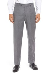 Berle Men's Big And Tall Flat Front Solid Wool Trousers Light Grey