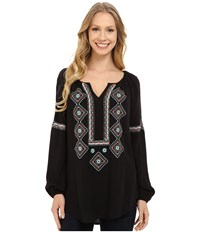 Karen Kane Embroidered Peasant Shirt Black Women's Clothing