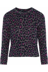 Marc By Marc Jacobs Woman Cropped Metallic Wool Blend Jacquard Sweater Charcoal