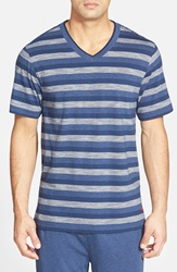 Tommy Bahama Stripe V Neck T Shirt Indigo Heather