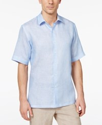 Tasso Elba Men's Linen Shirt Only At Macy's Blue Combo