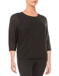 Calvin Klein Plus Textured Knit Dolman Sweater Black