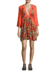 Free People Three Quarter Sleeve Floral Print Dress Red Combo