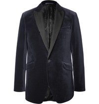 Favourbrook Blue Slim Fit Faille Trimmed Cotton Velvet Tuxedo Jacket Navy