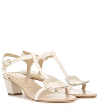 Roger Vivier Chips Leather Sandals White