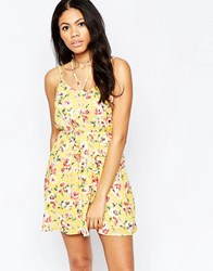 Daisy Street Sun Dress In Floral Print With Multi Strap Deatil Yellow