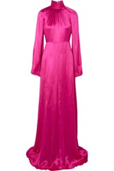 Gucci Silk Blend Satin Gown Fuchsia