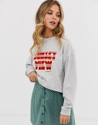 Maison Scotch Terry Slogan Sweatshirt Grey