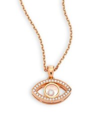 Chopard Happy Diamonds And 18K Rose Gold Evil Eye Pendant Necklace