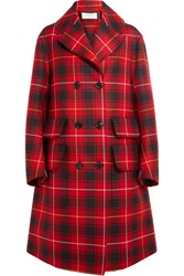 Gucci Oversized Appliqued Tartan Wool Coat Red